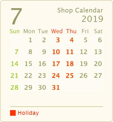 営業カレンダー2019年7月