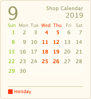営業カレンダー2019年9月