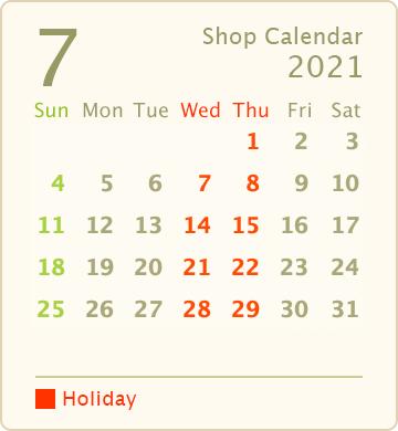 営業カレンダー2021年7月
